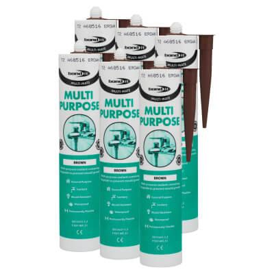 Bond It Multi-Mate Multi-Purpose Silicone - Brown - Pack 6