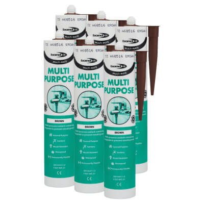 Bond It Multi-Mate Multi-Purpose Silicone - Brown (Pack of 6)