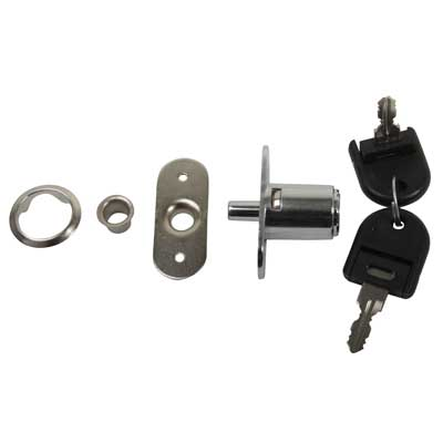 Cabinet Push Lock - 19 x 23mm - Keyed to Differ - Chrome Plated