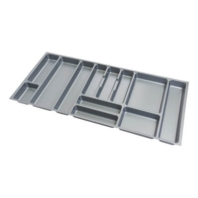 Cutlery Tray - To Suit 1000mm Drawer Width - Grey Plastic