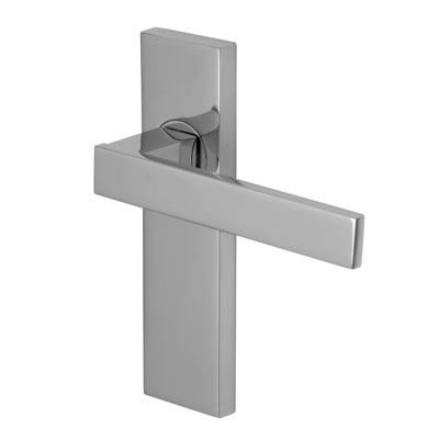 M Marcus Delta Door Handle - Latch Set - Polished Chrome