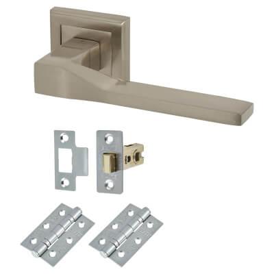 Elan Trapani Lever Door Handle on Rose - Door Kit - Satin Nickel