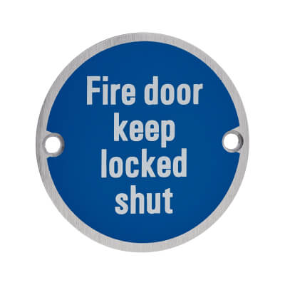 Fire Door Keep Locked Shut - 75mm - Satin Aluminium)