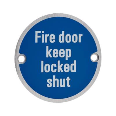 Fire Door Keep Locked Shut - 75mm - Satin Aluminium)