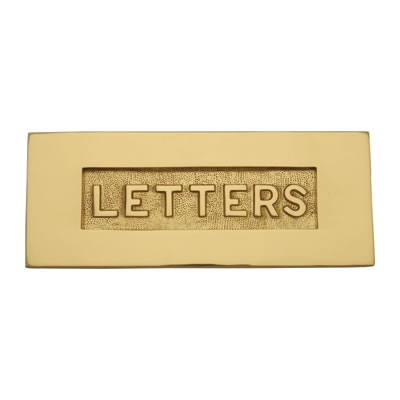 Embossed Letter Plate - 254 x 101mm - Polished Brass