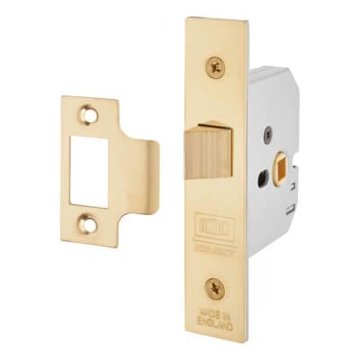UNION® 2677 Heavy Box Pattern Latch - 77.5mm Case - 57mm Backset - Polished Brass