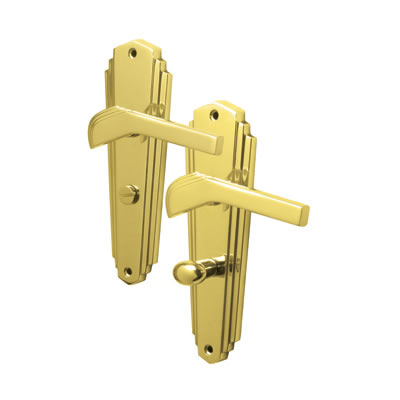 M Marcus Waldorf Door Handle - Bathroom Set - Polished Brass