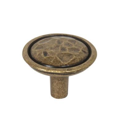 Mottled Cabinet Knob - 35mm - Antique Brass)