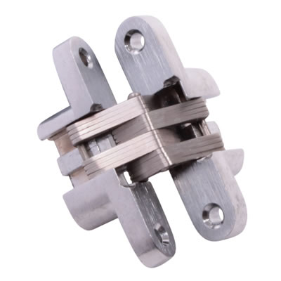 Tago Concealed Hinge - 60 x 13mm - Satin Chrome - Pair)