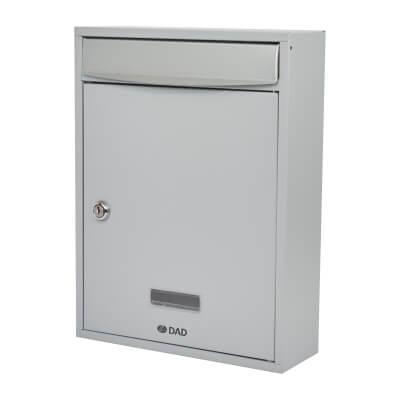 DAD Bologne Mailbox - 340 x 260 x 85mm - Silver Grey