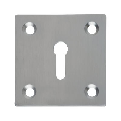 Square Plate Brass Escutcheon - Satin Chrome