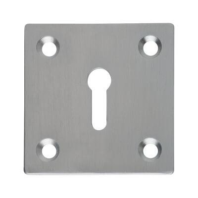 Square Plate Brass Escutcheon - Satin Chrome