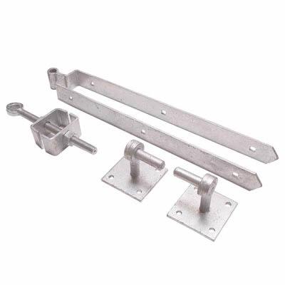 Adjustable Fieldgate Hinge Set On Plates - 600mm - Galvanised)