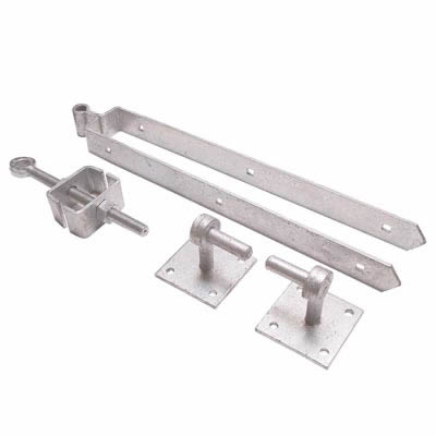 Adjustable Fieldgate Hinge Set On Plates - 600mm - Galvanised