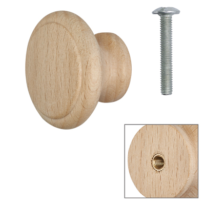 Cabinet Knob - Raw Beech - with Bolt & Insert - 35mm - Pack of 5