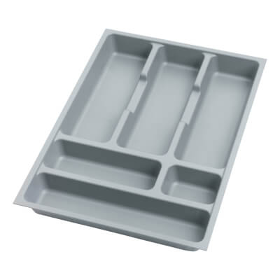 Cutlery Tray - To Suit 400mm Drawer Width - Grey Plastic