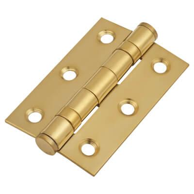 Twin Ball Bearing Hinge - 75 x 50 x 2mm - Brass Plated)