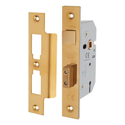 UNION® 2277 3 Lever Sashlock - 77.5mm Case - 57mm Backset - Polished Brass