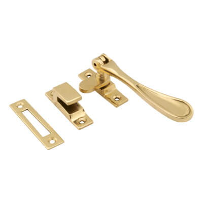 Hampstead Victorian Hook & Plate Window Fastener - Polished Brass