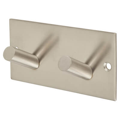 Jedo Square Horizontal Hook Plate - 94 x 46mm - Satin Stainless Steel)