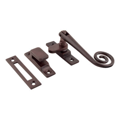 Hampstead Open Curl Hook & Plate Window Fastener - Soft Antique Bronze