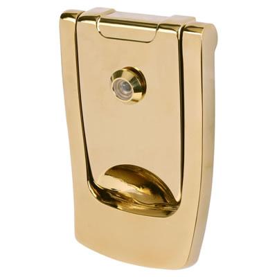 Hoppe Designer Knocker with viewer - 110 x 74mm - Polished Brass