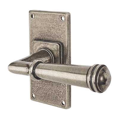 Finesse Durham Door Handle on Jesmond Plate - Latch Set - Pewter