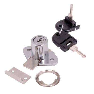 Drawer Lock - 19 x 22mm - Keyed to Differ - Chrome Plated