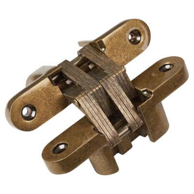 Tago Concealed Soss Hinge - 117 x 25mm - Antique Brass)