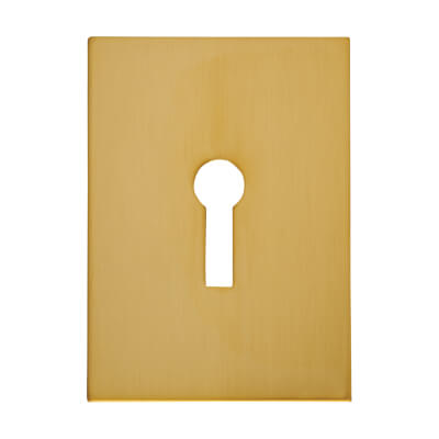 Jumbo Adhesive Fixing Escutcheon - 65.5 x 47.6mm - Keyhole - Polished Brass