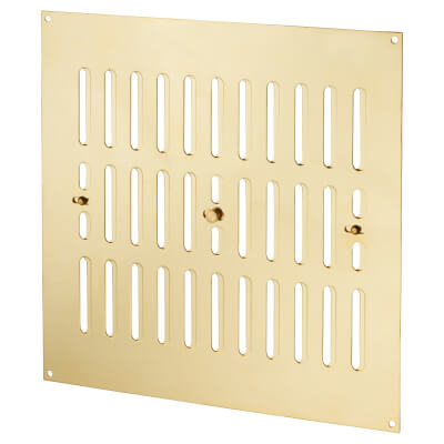 Raised Hit & Miss Pattern Vent - 242 x 242mm - 11250mm2 Free Air Flow - Polished Brass)
