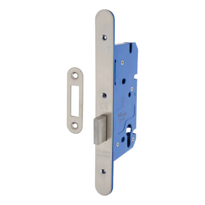 A-Spec Architectural DIN Euro Deadlock - 85mm Case - 60mm Backset - Radius - Satin Stainless
