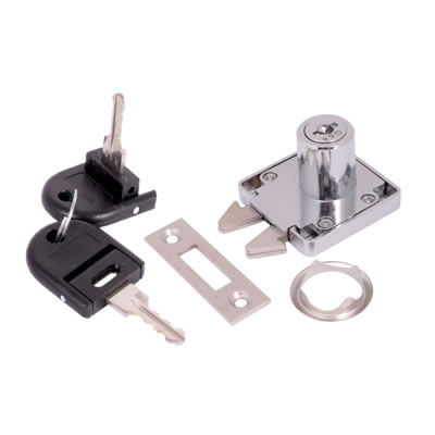 Sliding Door Lock - 19 x 22mm - Keyed to Differ - Chrome Plated