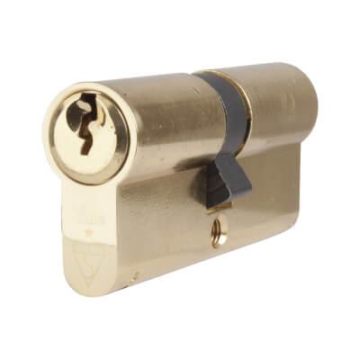 Yale® 1 Star Kitemarked Euro Double Cylinder - Keyed Alike - 40 + 40mm - Polished Brass