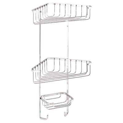 Croydex Wirework Shower Corner Basket - Three Tier - Stainless Steel