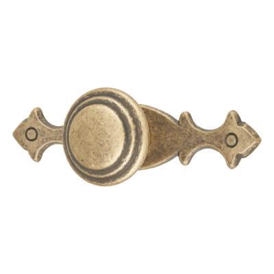 Touchpoint Fleur-de-Lys Cabinet Knob on Plate - 30 x 75mm - Antique Brass
