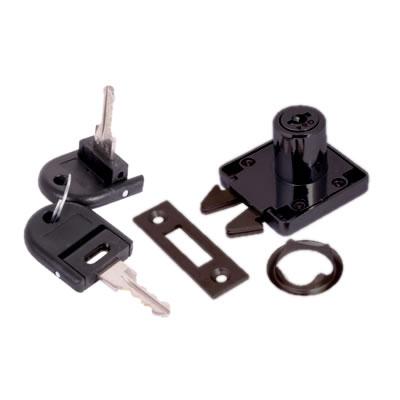 Sliding Door Lock - 19 x 22mm - Keyed to Differ - Black Nickel