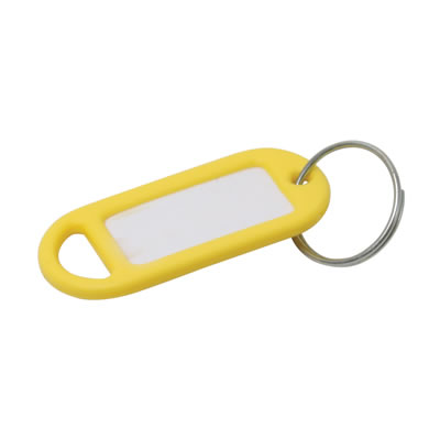 Key Ring Tag - 48 x 21mm - Yellow - Pack 10