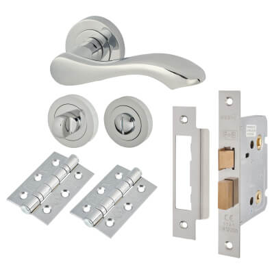 Touchpoint Scarlett Lever Door Handle - Bathroom Lock Kit - Polished Chrome