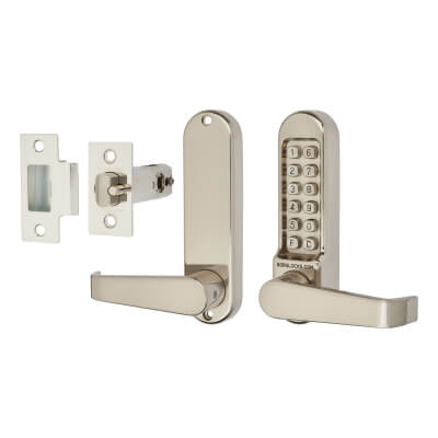 Borg BL5401 Code Operated Lock with Flat Bar Lever Handles with Latch - Stainless Steel