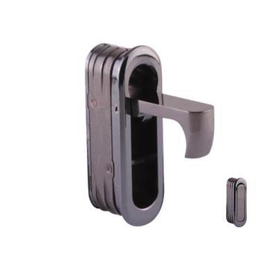 Door Edge Finger Pull - 58 x 18 x 18mm - Polished Black Nickel)