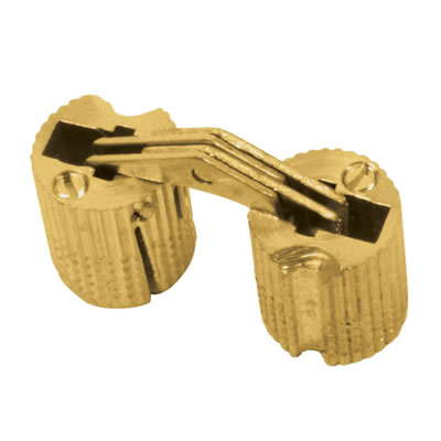 Concealed Rounded Cabinet Hinge - 12mm - Polished Brass