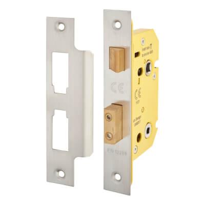 Altro Bathroom Lock - 65mm Case - 44mm Backset - Satin Stainless)