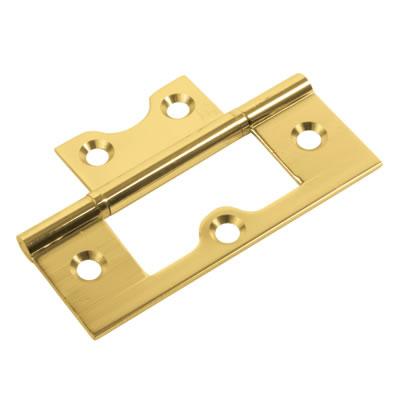 Ball Bearing Flush Hinge - 75 x 50 x 1.7mm - Polished Brass - Pair