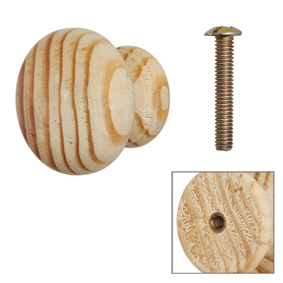 Touchpoint Cabinet Knob with Bolt & Insert - 35mm - Pine