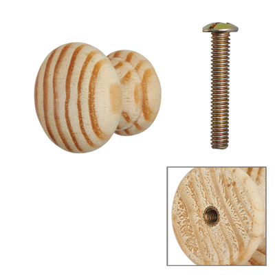 Touchpoint Cabinet Knob with Bolt & Insert - 25mm - Pine