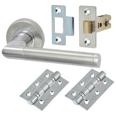 M Marcus Mercury Lever Door Handle on Rose - Door Kit - Satin/Polished Chrome