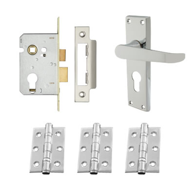Aglio Victorian Handle Door Kit - Euro Lock Set - Polished Chrome