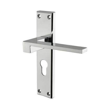 Carlisle Brass Equi Door Handle - Euro Lock Set - Polished Chrome