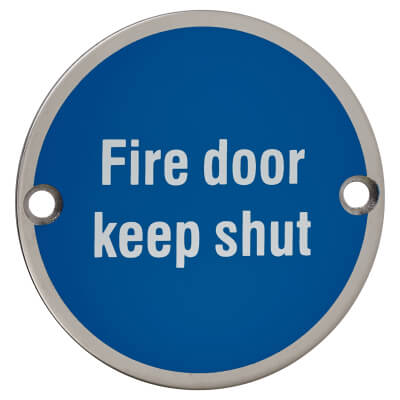 Fire Door Keep Shut - 75mm - Polished Stainless Steel)
